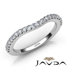 2mm Women's Half Wedding Band Round Cut Prong Diamond 14k White Gold Ring 0.50Ct