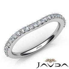 Round Prong Diamond Half Wedding Band 14k White Gold 1.8mm Women's Ring 0.50Ct