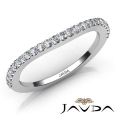 Women's Wedding Band Prong Diamond Matching Set 1.6mm Ring 14k White Gold 0.30Ct