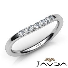 Women Matching Band 14k White Gold Round Diamond Half Wedding 1.6mm Ring 0.20Ct