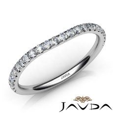 Prong Diamond Women's Wedding 1.7mm Band 14k White Gold Matching Set Ring 0.45Ct
