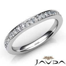 Womens Engagement Wedding 2.3mm Band Pave Set Diamond Ring 14k White Gold 0.35Ct