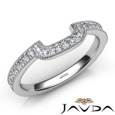 Round Diamond Women's Milgrain Band Engagement 2.5mm Ring 14k White Gold 0.50Ct
