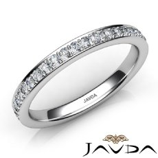 Pave Round Diamond Women's Wedding Band Matching Set Ring 14k White Gold 0.50Ct