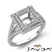 Princess Semi Mount U Split Diamond Engagement Ring 14k White Gold 1.4Ct - javda.com