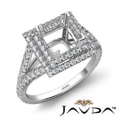 Princess Semi Mount U Split Diamond Engagement Ring 14k White Gold 1.40 Carat