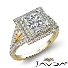 U Split Prong Double Halo Princess diamond engagement Ring in 14k Gold Yellow
