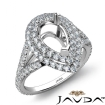 Pear Semi Mount U Split Cut Diamond Engagement Ring 14k White Gold 1.5Ct - javda.com