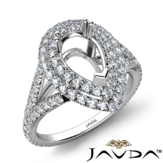 Pear Semi Mount U Split Cut Diamond Engagement Ring 14k White Gold 1.40 Carat