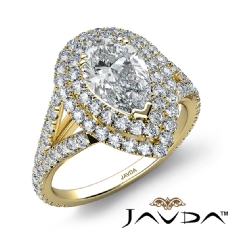V Shaped Shank Double Halo Pear diamond engagement Ring in 14k Gold Yellow