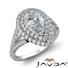V Shaped Shank Double Halo Pear diamond engagement Ring in 14k Gold White
