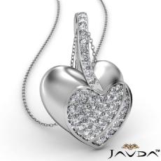 Round Diamond Filled Double Heart Pendant Necklace In 18k Gold White (0.55Ct. tw.)