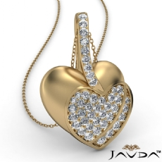 Round Diamond Filled Double Heart Pendant Necklace In 14k Gold Yellow (0.55Ct. tw.)