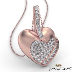 Round Diamond Filled Double Heart Pendant Necklace In 14k Rose Gold (0.55Ct. tw.)