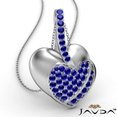 <Dcarat> Round Sapphire Gemstone Filled Double Heart Pendant Necklace 18k Gold White