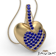 <Dcarat> Round Sapphire Gemstone Filled Double Heart Pendant Necklace 14k Gold Yellow