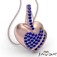 <Dcarat> Round Sapphire Gemstone Filled Double Heart Pendant Necklace 14k Rose Gold