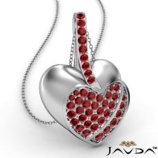<Dcarat> Round Ruby Gemstone Filled Double Heart Pendant Necklace 18k Gold White
