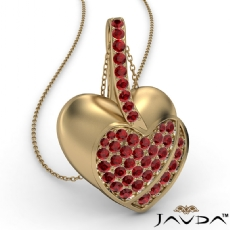 <Dcarat> Round Ruby Gemstone Filled Double Heart Pendant Necklace 14k Gold Yellow