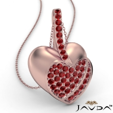 <Dcarat> Round Ruby Gemstone Filled Double Heart Pendant Necklace 14k Rose Gold