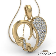 Round Cluster Diamond XO Heart Pendant Necklace In 14k Gold Yellow  (0.44Ct. tw.)