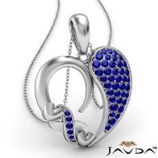 Round Cluster Sapphire Gemstone XO Heart Pendant Necklace 18k Gold White <Dcarat>
