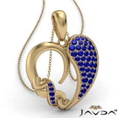 Round Cluster Sapphire Gemstone XO Heart Pendant Necklace 14k Gold Yellow <Dcarat>