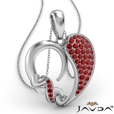 Round Cluster Ruby Gemstone XO Heart Pendant Necklace 18k Gold White <Dcarat>