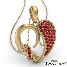 Round Cluster Ruby Gemstone XO Heart Pendant Necklace 14k Gold Yellow <Dcarat>