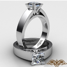 Flat Cathedral Solitaire Princess diamond  Ring in 18k Gold White