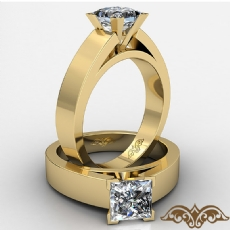 Flat Cathedral Solitaire Princess diamond  Ring in 14k Gold Yellow