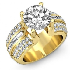 Channel Baguette Sidestone Round diamond engagement Ring in 14k Gold Yellow