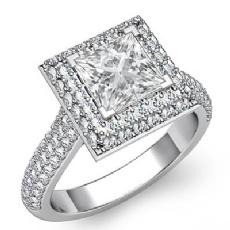 Double Halo Pave Bridge Princess diamond engagement Ring in 14k Gold White