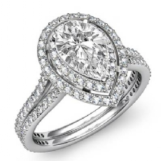 Gala Halo Pave Setting Pear diamond engagement Ring in 14k Gold White