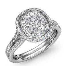 Gala Halo Pave Split Shank Cushion diamond engagement Ring in 14k Gold White