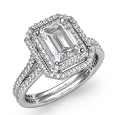 Gala Halo Micro Pave Cathedral Emerald diamond engagement Ring in 14k Gold White