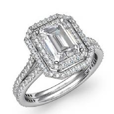 Emerald diamond  Ring in 14k Gold White