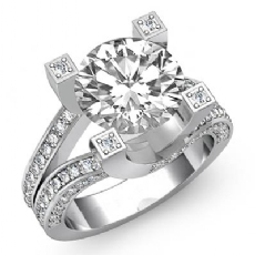 Classic Split Shank Sidestone Round diamond engagement Ring in 14k Gold White
