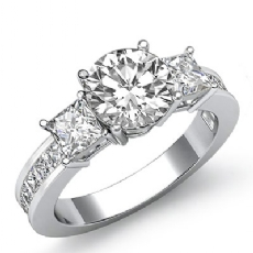 Channel Prong Set 3 Stone Round diamond engagement Ring in 14k Gold White