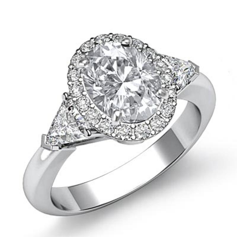 997d72d1df5348 Three Stone Trillion Halo Oval Diamond Engagement Ring 14k White Gold  (1.8ctw.) <>. Original Image. Orignal image
