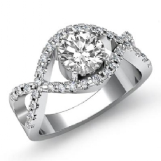 Cross Shank Prong Setting Round diamond engagement Ring in 14k Gold White