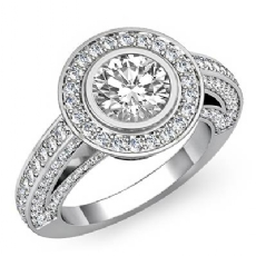 Bezel Set Halo Bridge Accent Round diamond engagement Ring in 14k Gold White