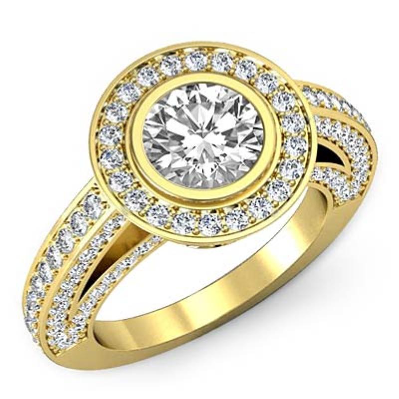 6700f992019cb Bezel Set Halo Bridge Accent Round Diamond Engagement Ring 18k Yellow Gold  (2.51ctw.)