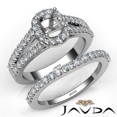U Prong Diamond Engagement Semi Mount Ring Cushion Bridal Set 14K W Gold 1.25Ct.