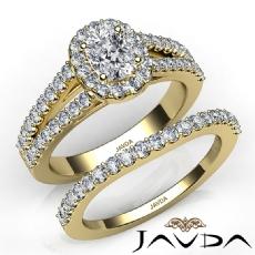 Split Shank Halo Bridal Cushion diamond engagement Ring in 14k Gold Yellow