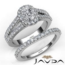 Split Shank Halo Bridal Cushion diamond engagement Ring in Platinum 950