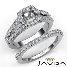 U Prong Diamond Engagement Cushion Semi Mount Ring Bridal Set 14K W Gold 1.25Ct.