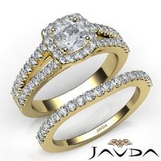 Bridge Accent Bridal Set Cushion diamond engagement Ring in 14k Gold Yellow