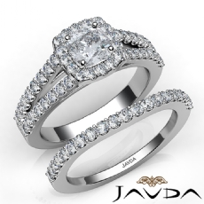 Bridge Accent Bridal Set Cushion diamond engagement Ring in 14k Gold White