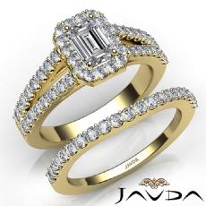 Halo Sidestone Bridal Set Emerald diamond engagement Ring in 14k Gold Yellow